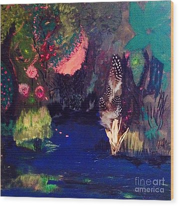 Wood Print featuring the painting  My Pond by Vanessa Palomino