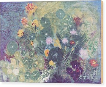 Nasturtiums And Marigolds Wood Print by Trudy Brodkin Storace