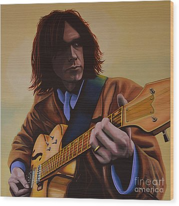 Neil Young Painting Wood Print by Paul Meijering