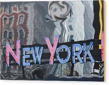 New York Neon Sign Wood Print by Sophie Vigneault