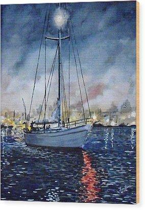 Newport Beach Harbor 4th Of July Wood Print by John Leclerc