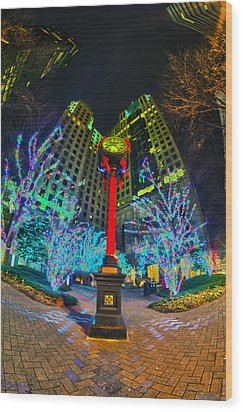 Nightlife Around Charlotte During Christmas Wood Print