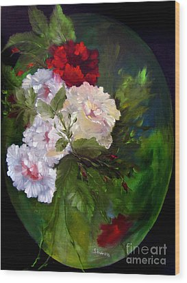 Of Rhapsodies And Roses Wood Print by Sharon Burger