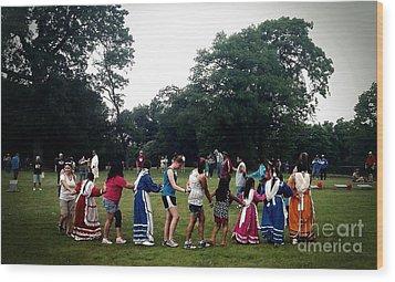 Oklahoma Choctaw Youth Dancing Wood Print by R McLellan