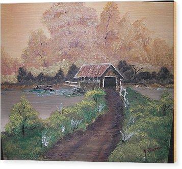 Old Covered Bridge Wood Print by Ken Frazer