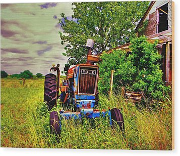 Old Ford Tractor Wood Print