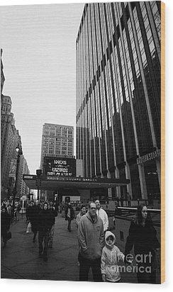 Outside Madison Square Garden New York City Winter Usa Wood Print by Joe Fox