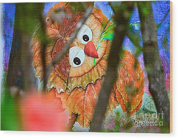 Owl Leaf Forest Wood Print by Vin Kitayama