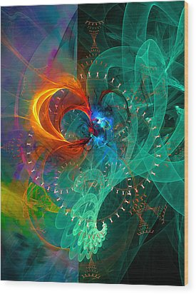 Parallel Reality - Colorful Digital Abstract Art Wood Print by Modern Art Prints