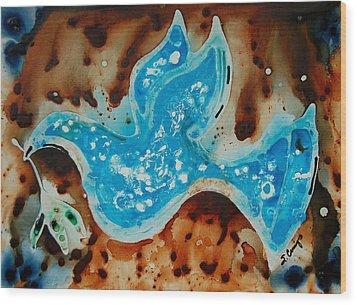 Peace Dove - Art By Sharon Cummings Wood Print by Sharon Cummings