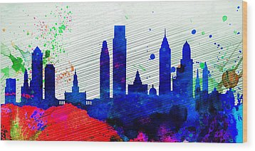 Philadelphia City Skyline Wood Print by Naxart Studio