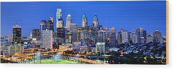 Philadelphia Skyline At Night Evening Panorama Wood Print