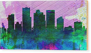 Phoenix City Skyline Wood Print by Naxart Studio