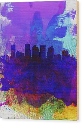 Phoenix Watercolor Skyline 1 Wood Print by Naxart Studio