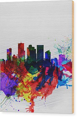 Phoenix Watercolor Skyline 2 Wood Print by Naxart Studio