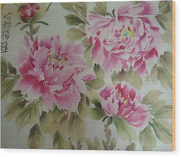 Pink  Peony 014 Wood Print by Dongling Sun