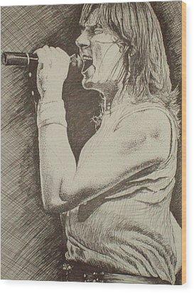 Portrait Of Joe Elliott Wood Print by Chris Shepherd