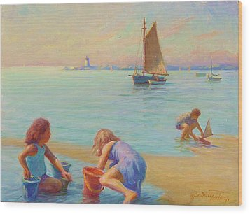 Provincetown Harbor Morning Wood Print by Ernest Principato