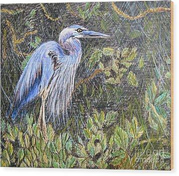 Ptg  Blue Heron Wood Print by Judy Via-Wolff