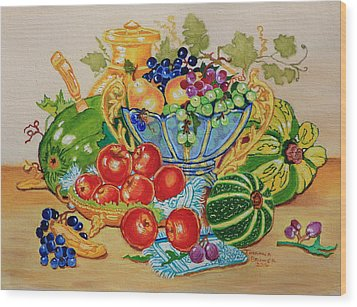 Red Apples And  Grapes Oil Painting Wood Print