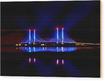 Reflecting Bridge - Indian River Inlet Bridge Wood Print by William Bartholomew
