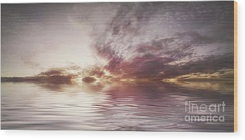 Reflection Of Mauve Skies Wood Print by Holly Martin