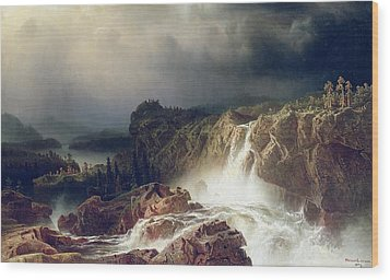 Rocky Landscape With Waterfall In Smaland Wood Print by Marcus Larson