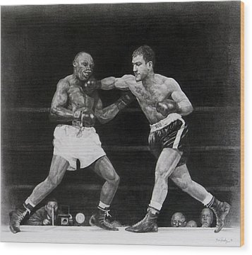 Wood Print featuring the drawing Rocky Marciano by Noe Peralez