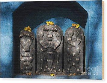 Rural Indian Hindu Shrine  Wood Print