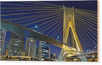 Sao Paulo's Iconic Cable-stayed Bridge  Wood Print