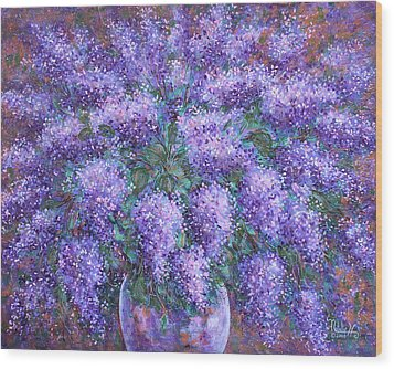 Wood Print featuring the painting  Scented Lilacs Bouquet by Natalie Holland