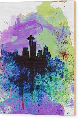 Seattle Watercolor Skyline 1 Wood Print