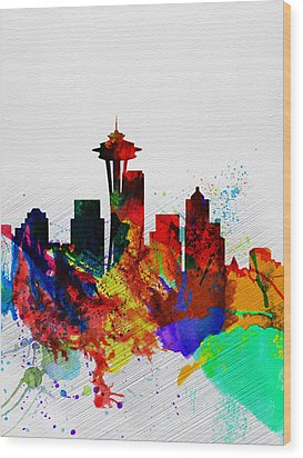 Seattle Watercolor Skyline 2 Wood Print by Naxart Studio