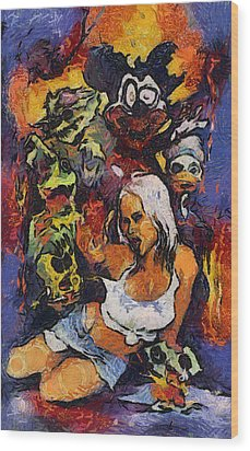 Sexy Pinup Zombie Painting Wood Print by Teara Na