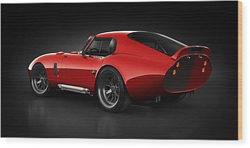 Wood Print featuring the digital art  Shelby Daytona - Red Streak by Marc Orphanos