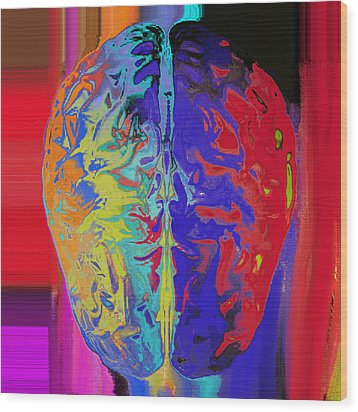 Shiny Brain Wood Print by Soumya Bouchachi