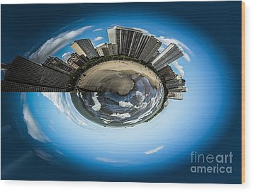 Small World Of Oak Street Beach And Lake Shore Drive In Chicago Wood Print