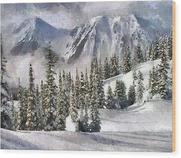 Snow In The Mountains Wood Print by Georgi Dimitrov