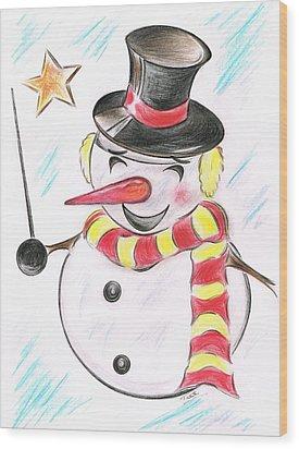 Snowmans  Stardom Wood Print