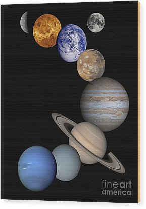 Solar System Montage Wood Print by Anonymous