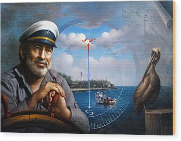 St. Simons Island Sea Captain 5 Wood Print