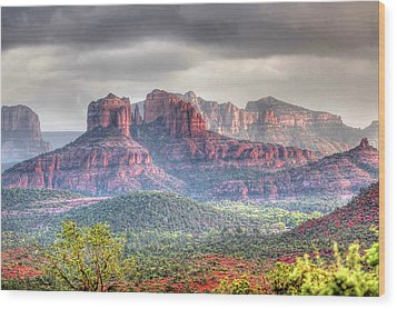 Wood Print featuring the photograph  Storm Clouds Red Rocks by Harold Rau