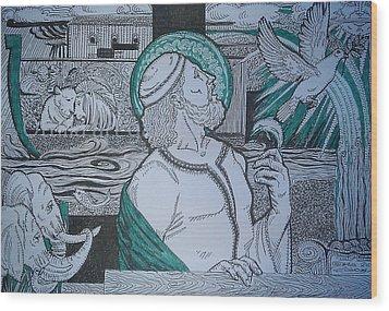 Story Of Noah Wood Print by Ottilia Zakany