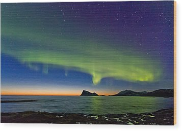 Sunset And Aurora Oval Wood Print by Frank Olsen