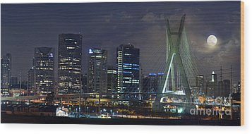 Supermoon In Sao Paulo - Brazil Skyline Wood Print