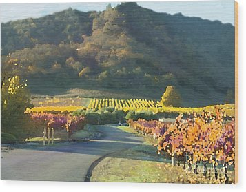 The Hills Of Clos La Chance Winery Wood Print by Artist and Photographer Laura Wrede