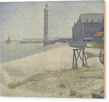 The Lighthouse At Honfleur Wood Print by Georges Pierre Seurat