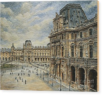 The Louvre Museum Wood Print by Joey Agbayani