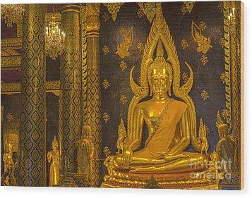 The Main Hall Of Wat Thardtong With Golden Buddha Statue Wood Print by Anek Suwannaphoom