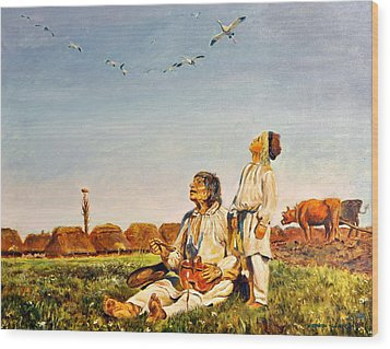 Wood Print featuring the painting End Of The Summer- The Storks by Henryk Gorecki